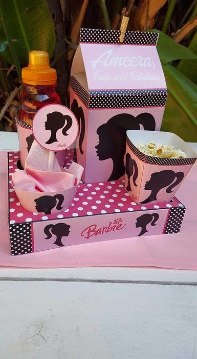 We make birthday party decor for popular themes such as Vintage Barbie, Doc Mcstuffins, Ferrari and more.