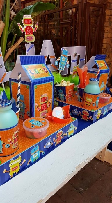 We make birthday party decor for popular themes such as Robots, Doc Mcstuffins, Ferrari and more.