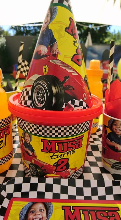 Kiddies Theme Parties not only make personalised Ferrari party supplies, we can also do the entire party setup for you.