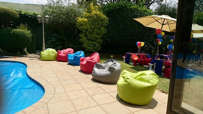Multi coloured bean bags to rent for parties and functions.
