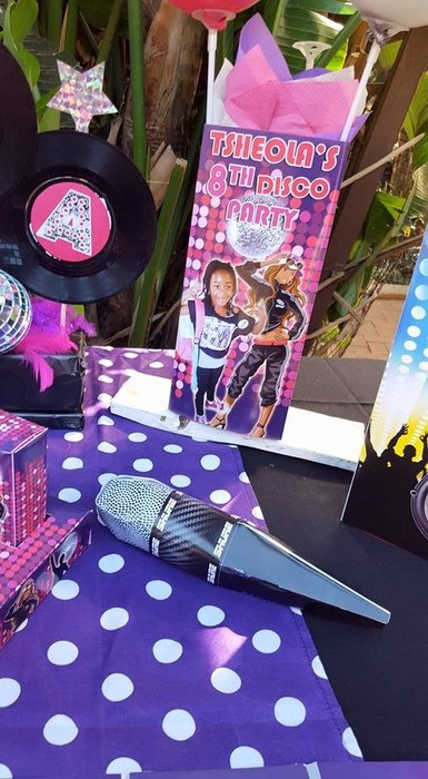 Kiddies Theme Parties hire out gazebos, picnic tables, umbrellas and photo boards for your Disco party.