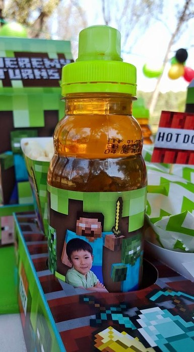 Kiddies Theme Parties hire out gazebos, picnic tables, umbrellas and photo boards for your Minecraft party.