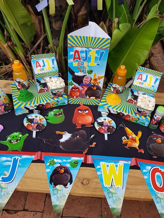 Our custom made Angry Birds party supplies include party hats, printed t-shirts, badges and more.