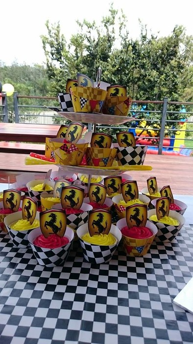 Kiddies Theme Parties hire out gazebos, picnic tables, umbrellas and photo boards for your Ferrari party.