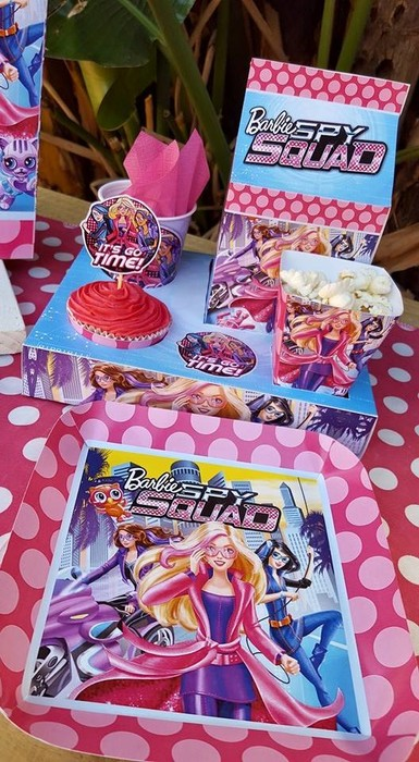 Our custom made Barbie Spy Squad party supplies include personalised invitations, paper cups and plates, blowouts and more.