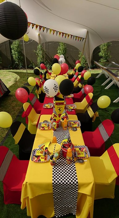 Our custom made Ferrari party supplies include party hats, printed t-shirts, badges and more.