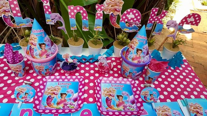 Personalized Barbie in a mermaid tale party supplies and Barbie in a mermaid tale birthday decor for sale.