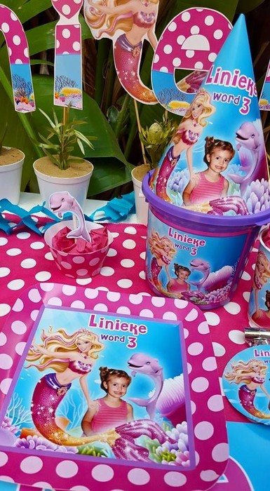 We make birthday party decor for popular themes such as Barbie in a mermaid tale, Doc Mcstuffins, Ferrari and more.