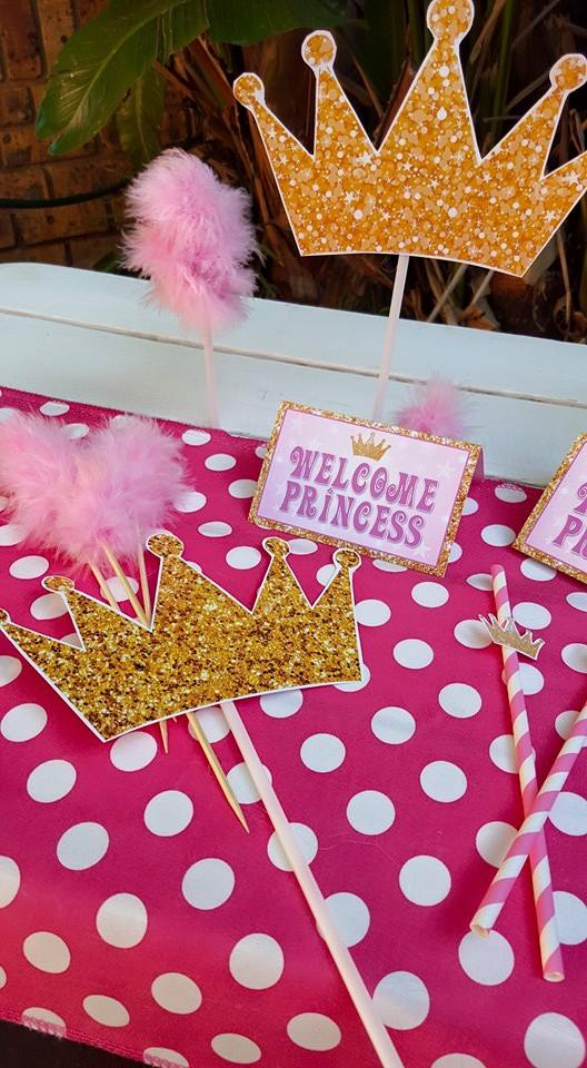 our custom made princess baby shower party supplies include