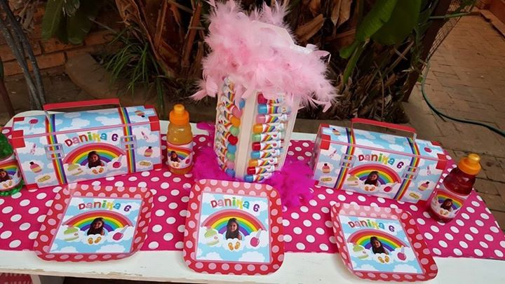 Rainbow pamper party supplies for Danika