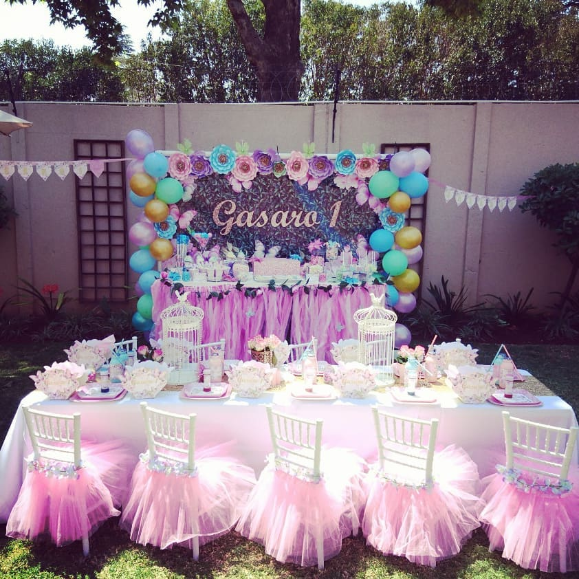 Floral Butterflies party setup