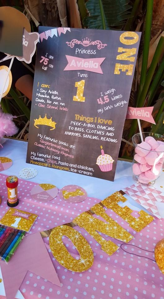 Fun at One party supplies - Pink & Gold Glitter