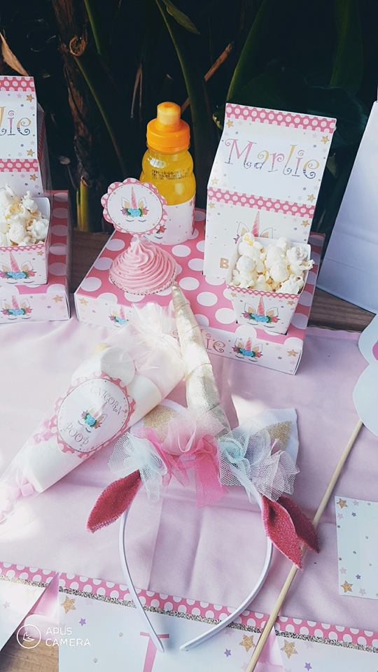 Handmade Pink & Gold Glitter Unicorn hemed party decor from Kiddies Theme Parties