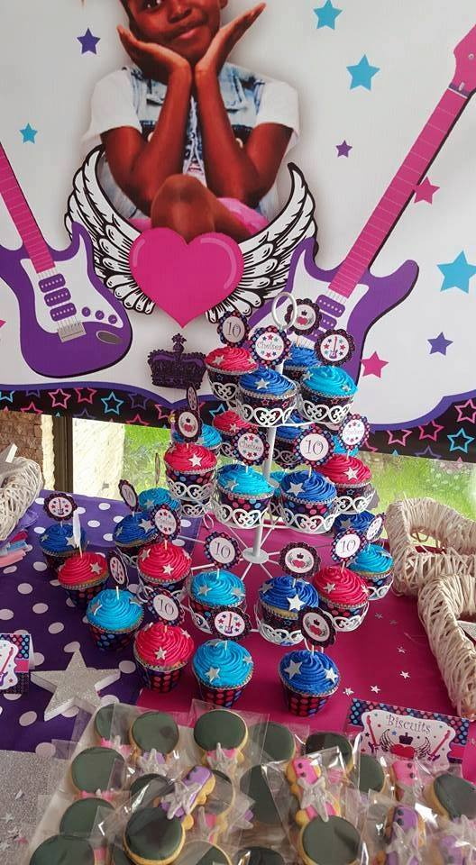 Personalized Popstar party decor from Kiddies Theme Parties