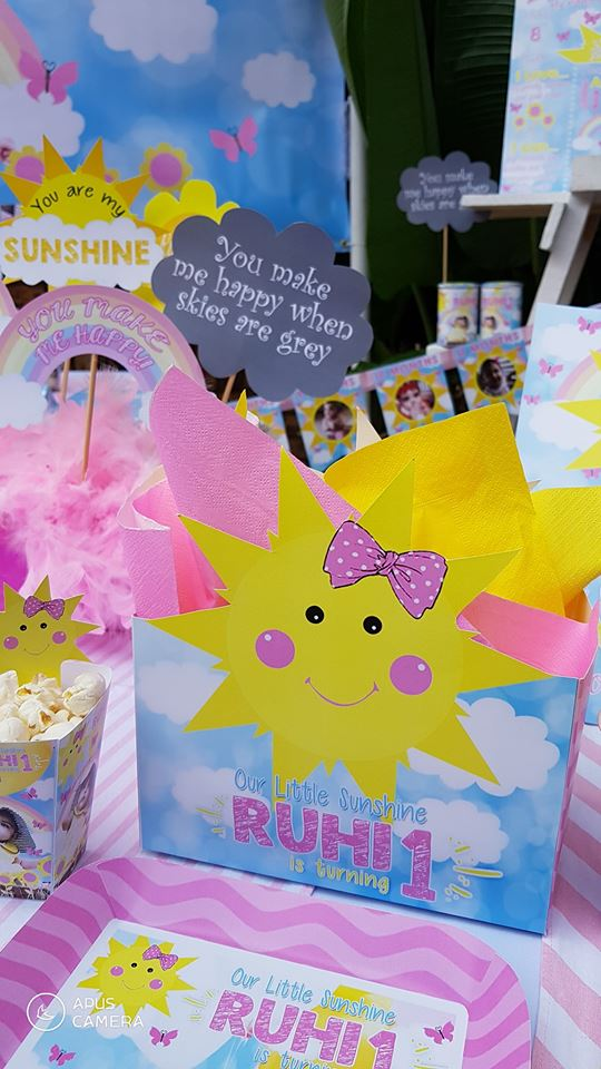 Handmade Little Sunshine themed party supplies from Kiddies Theme Parties